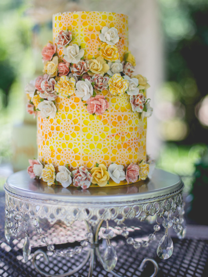 Opulent Treasures Silver Chandelier Loopy Cake Stand   Yellow Floral Tiered Cake