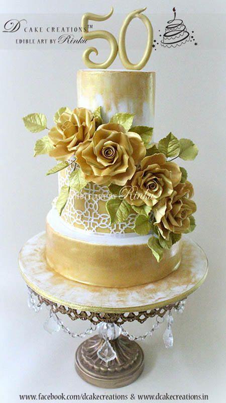 50th Wedding Anniversary   Gold Chandelier Cake Stand