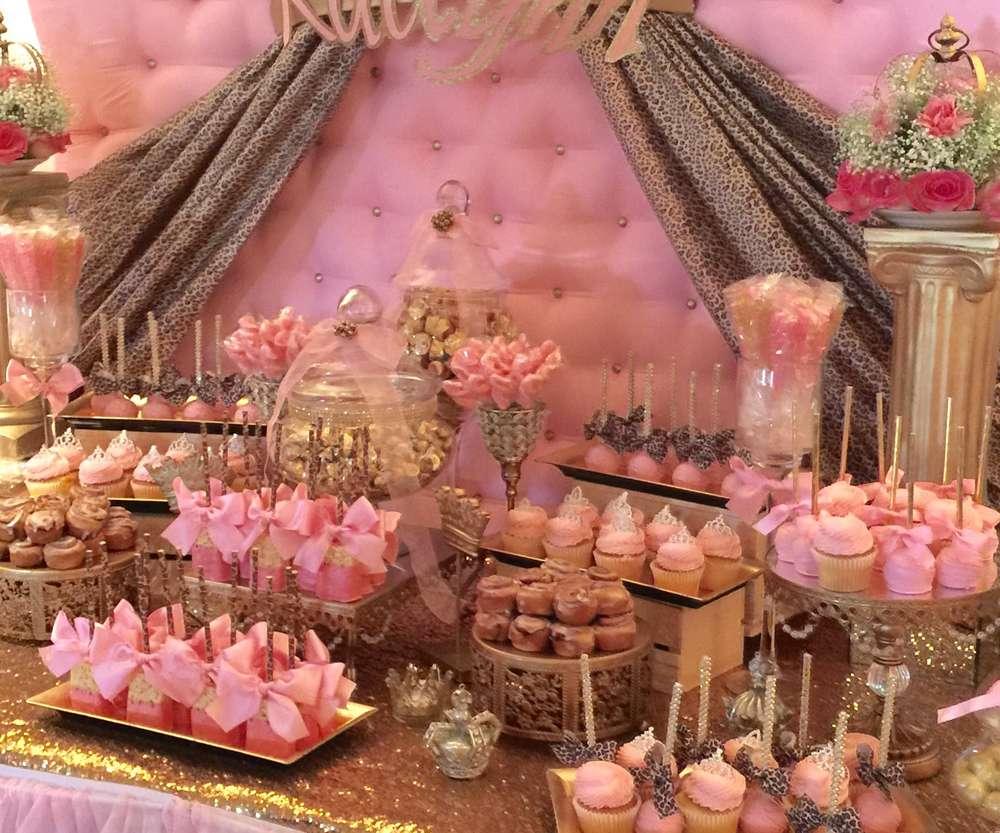 Pink & Gold Dessert Bar   Gold Chandelier Cake Stands   Opulent Treasures