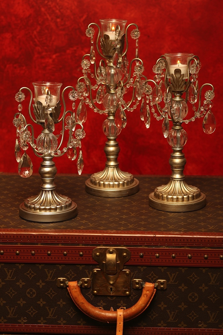 Rosettes Chandelier Candlesticks   Opulent Treasures