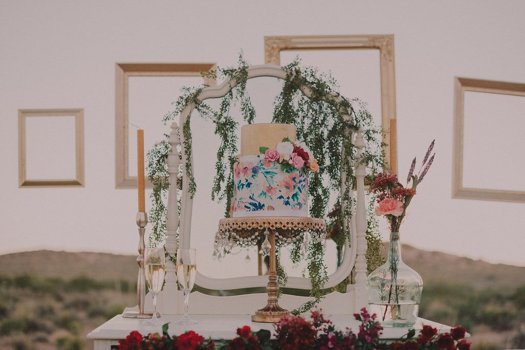 hand painted wedding cake stand