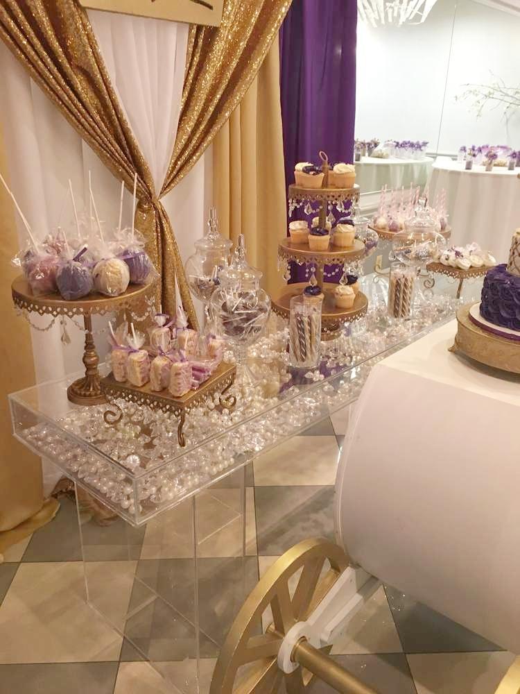 Dessert Bar Decor with Opulent Treasures Chandelier Cake Stands