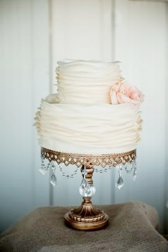 Simple Ruffled Frosting Cake   Gold Chandelier Cake Stand
