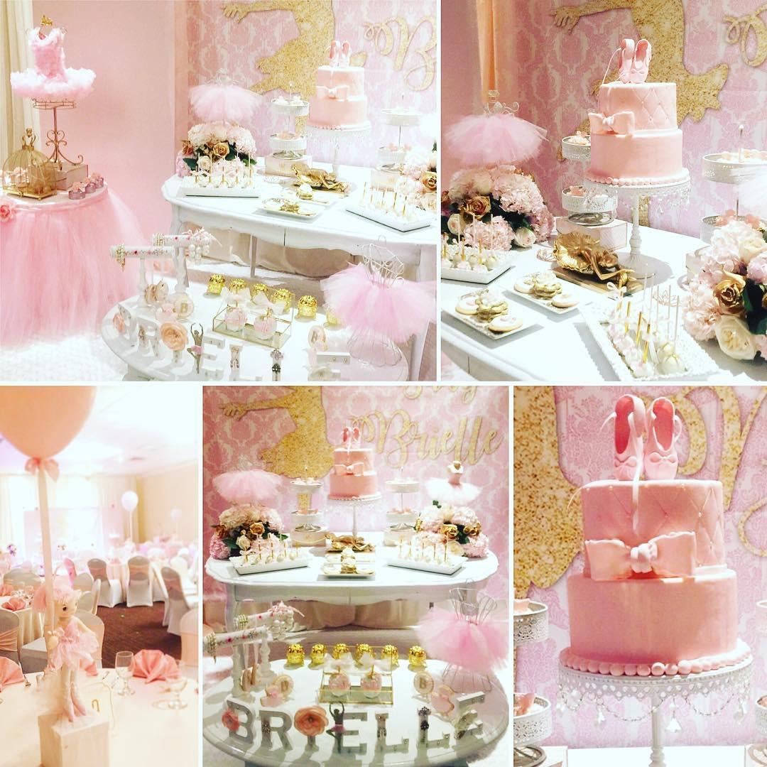 Ballerina Birthday Dessert Ideas   White Chandelier Cake Stands