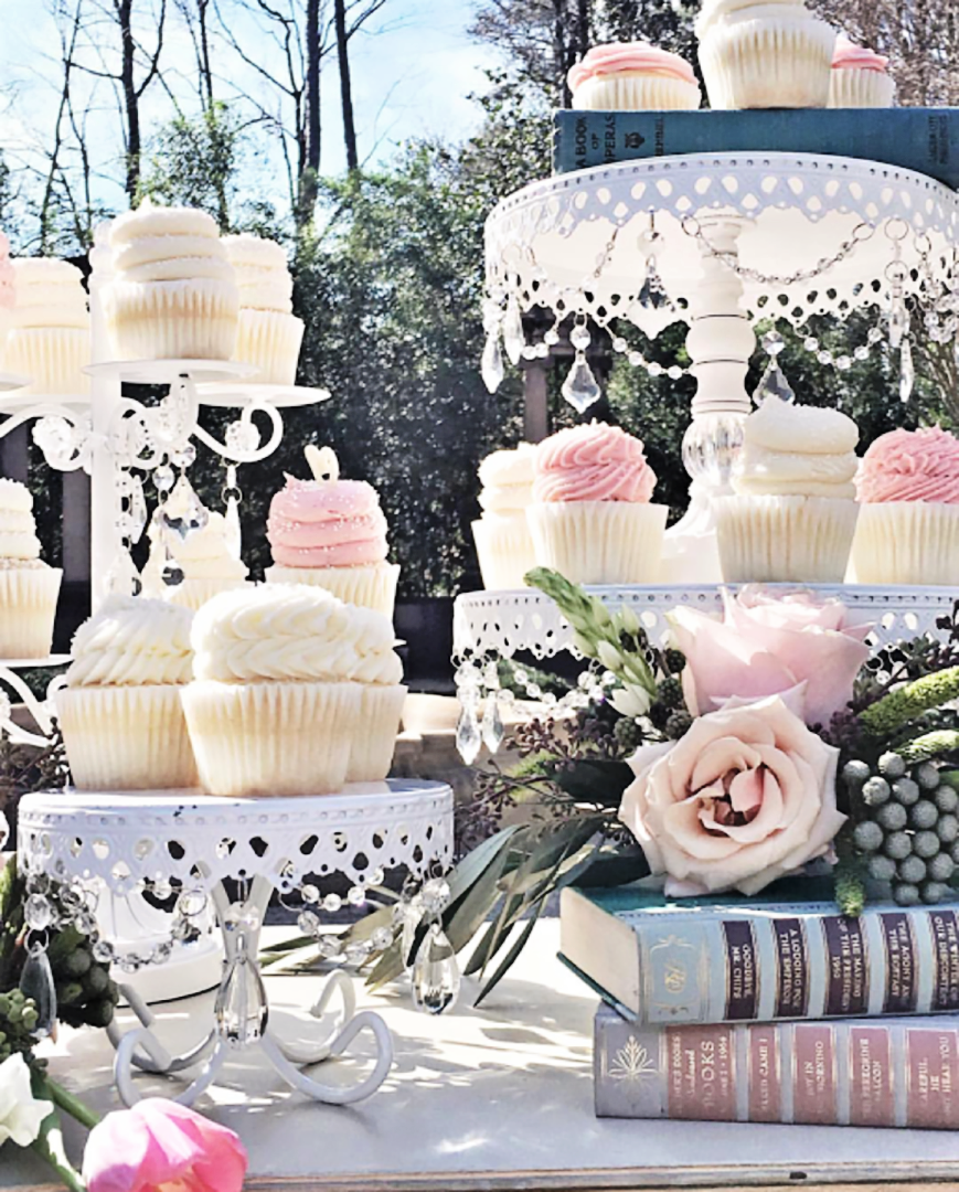 White Cake Stands   Cupcakes