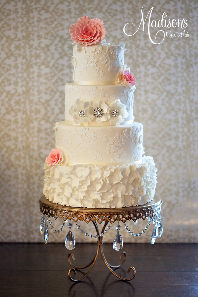 Wedding Cake by  Madison's on Main  |  Gold Chandelier Loopy Cake Plate