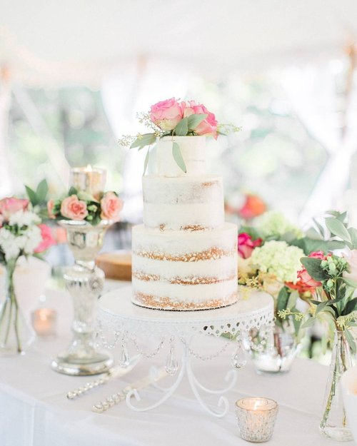 Naked Wedding Cake by  9 Beans Row  |  White Chandelier Loopy Cake Plate  | Photo by  Samantha James Photo