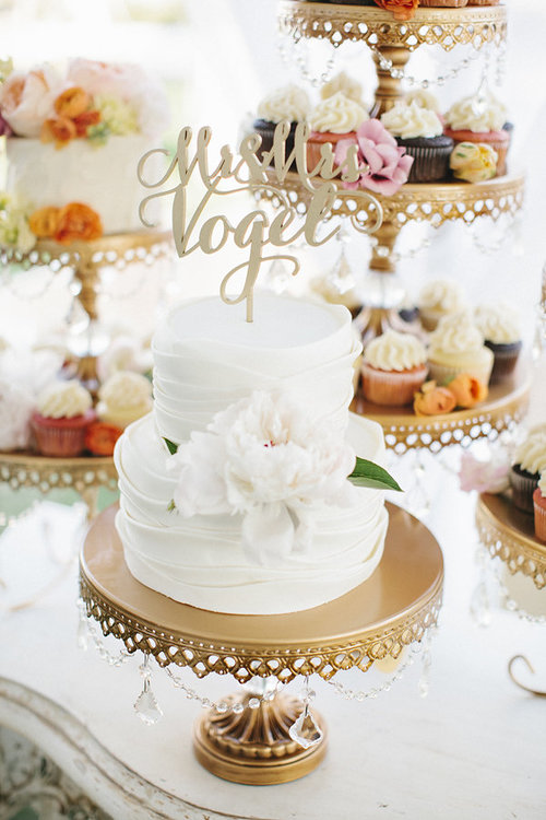 Cake & Sweets by  Sweet for Sirten  |  Gold Chandelier Ball Base Cake Stand  | Photo by  Leslie Hollingsworth