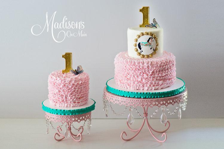 first Birthday-cake-stand-pink-chandeleir.jpg