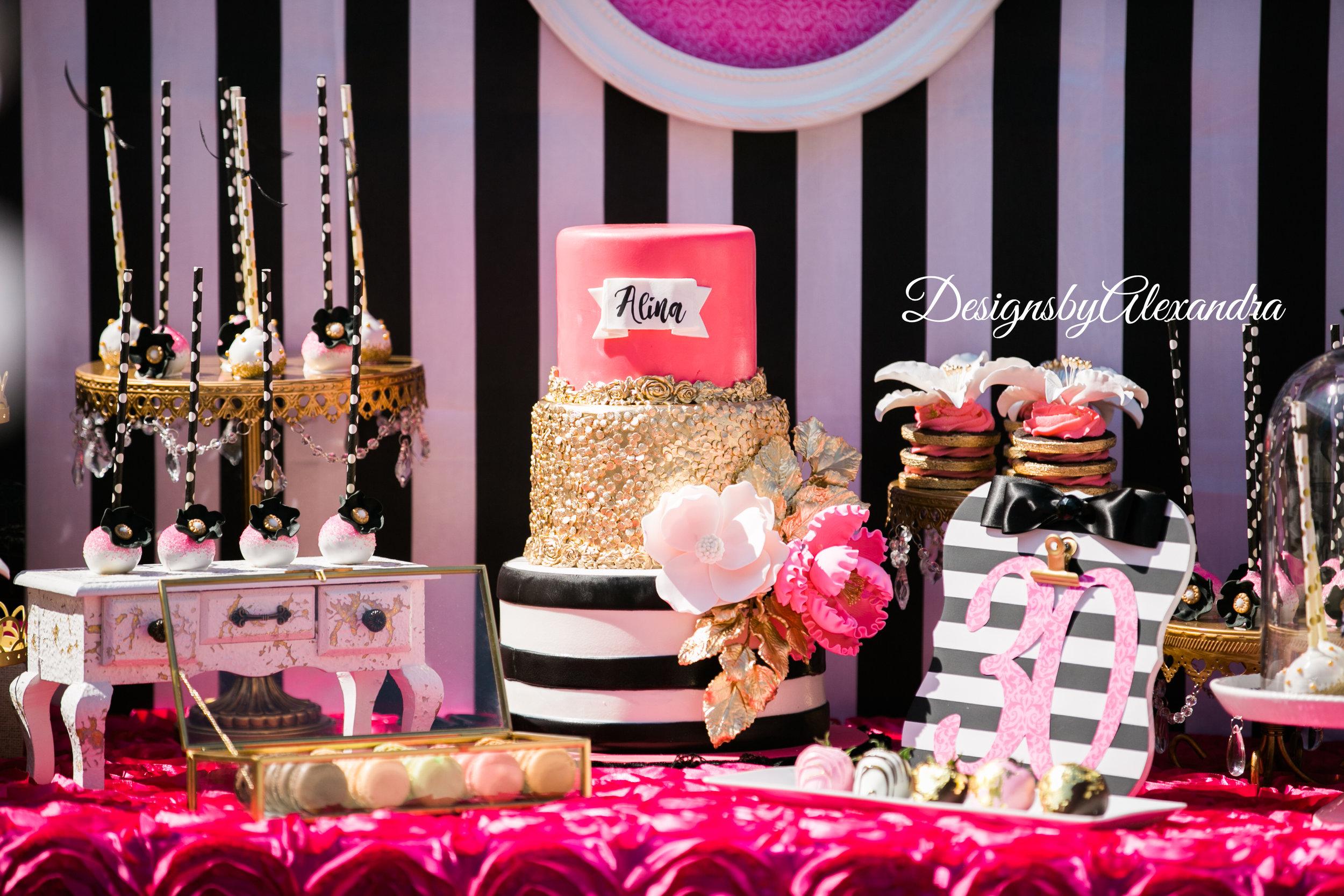 gold-chandelier-cakestand-pink-black-Birthday-designsbyalexandra.JPG