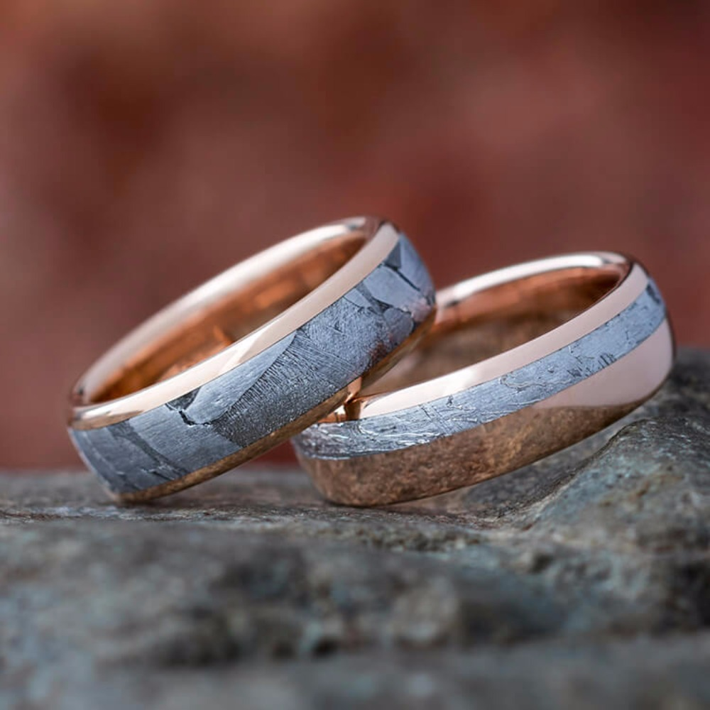 Rose gold and meteorite... out of this world. Duh   Jewelry by Johan