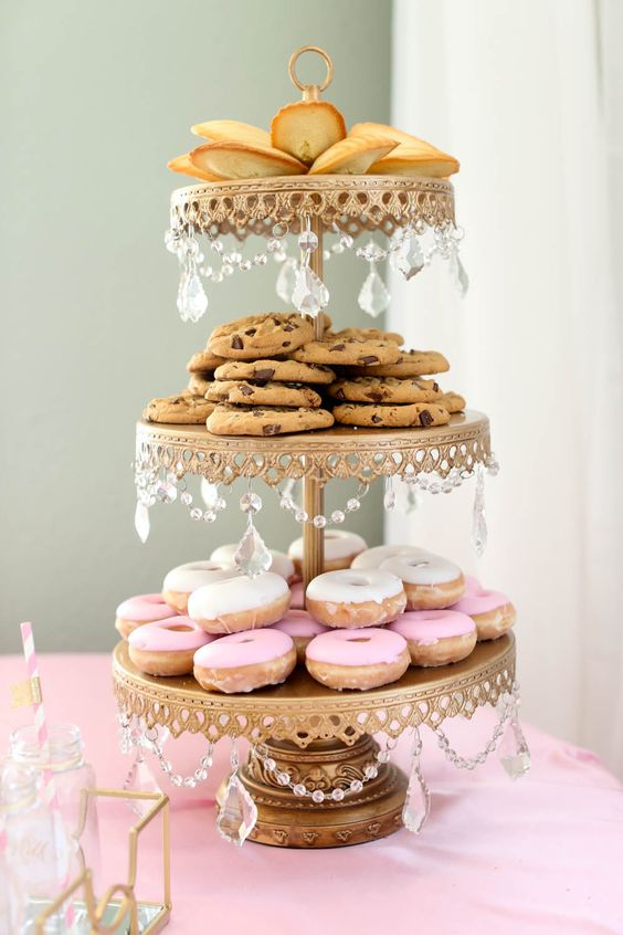 Dessert tables ( and brides! ) love our  Chandelier 3 Tiered Dessert Stand in Antique Gold ~ SHOP here!