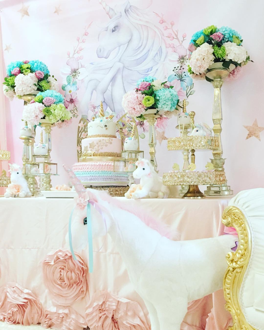 Gold & Bling make a Unicorn Party sparkle!  Gold Bling Two-Tiered Tray ~ SHOP here!