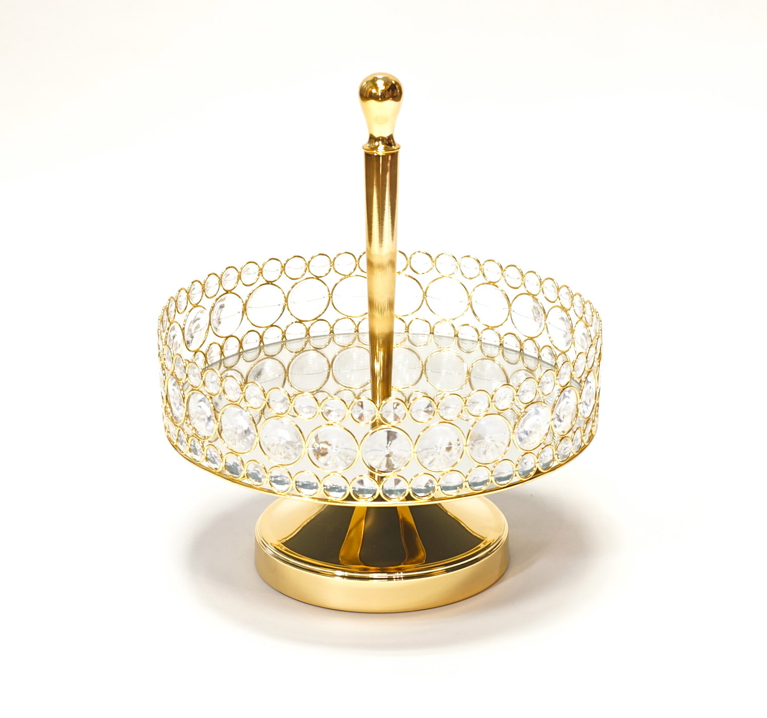 Bling One Tier Mirror Basket Tray