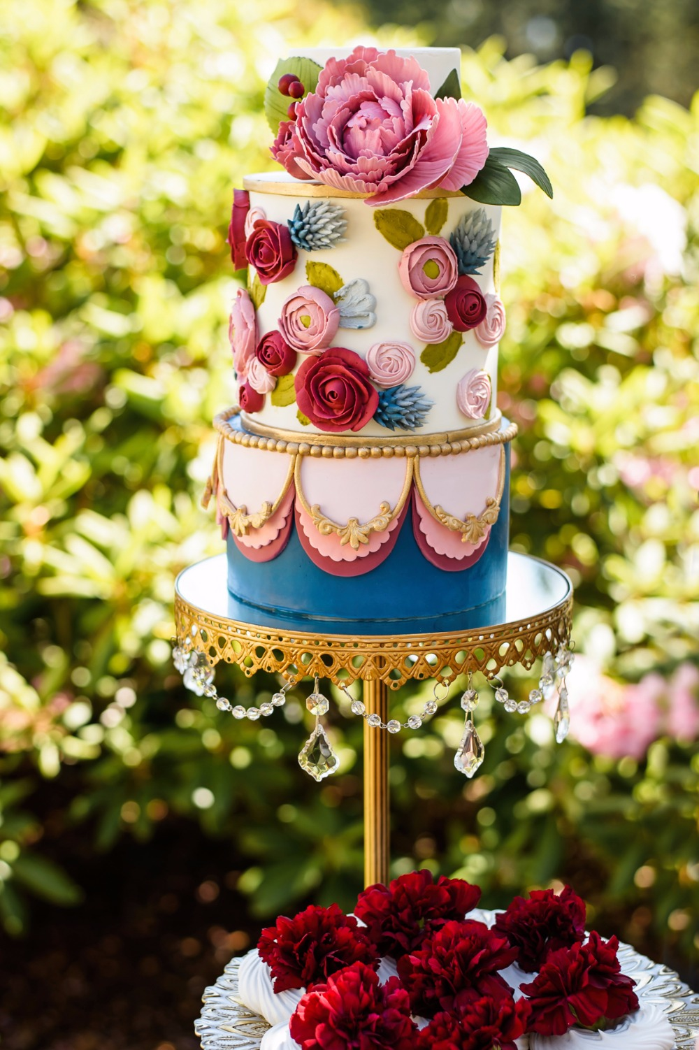 Gold Chandelier Cake Stand by  Opulent Treasures  // Cake by  Letterpress Bakery