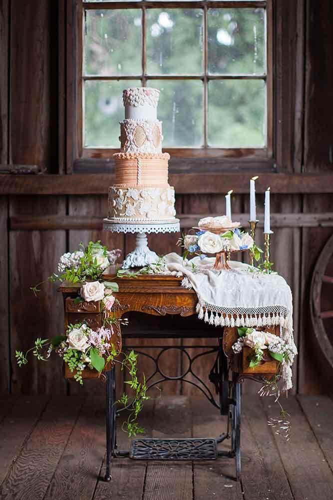 White Baroque Metal Cake Stand  / photo     K. Lindmeier Photography