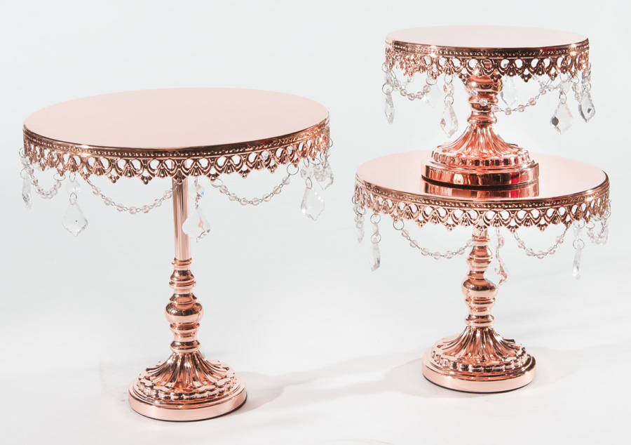 Rose Gold Chandelier Round Cake Stand