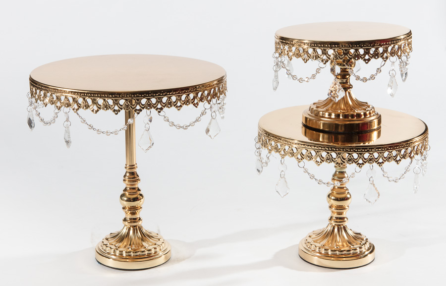 Shiny Gold Chandelier Round Cake Stand