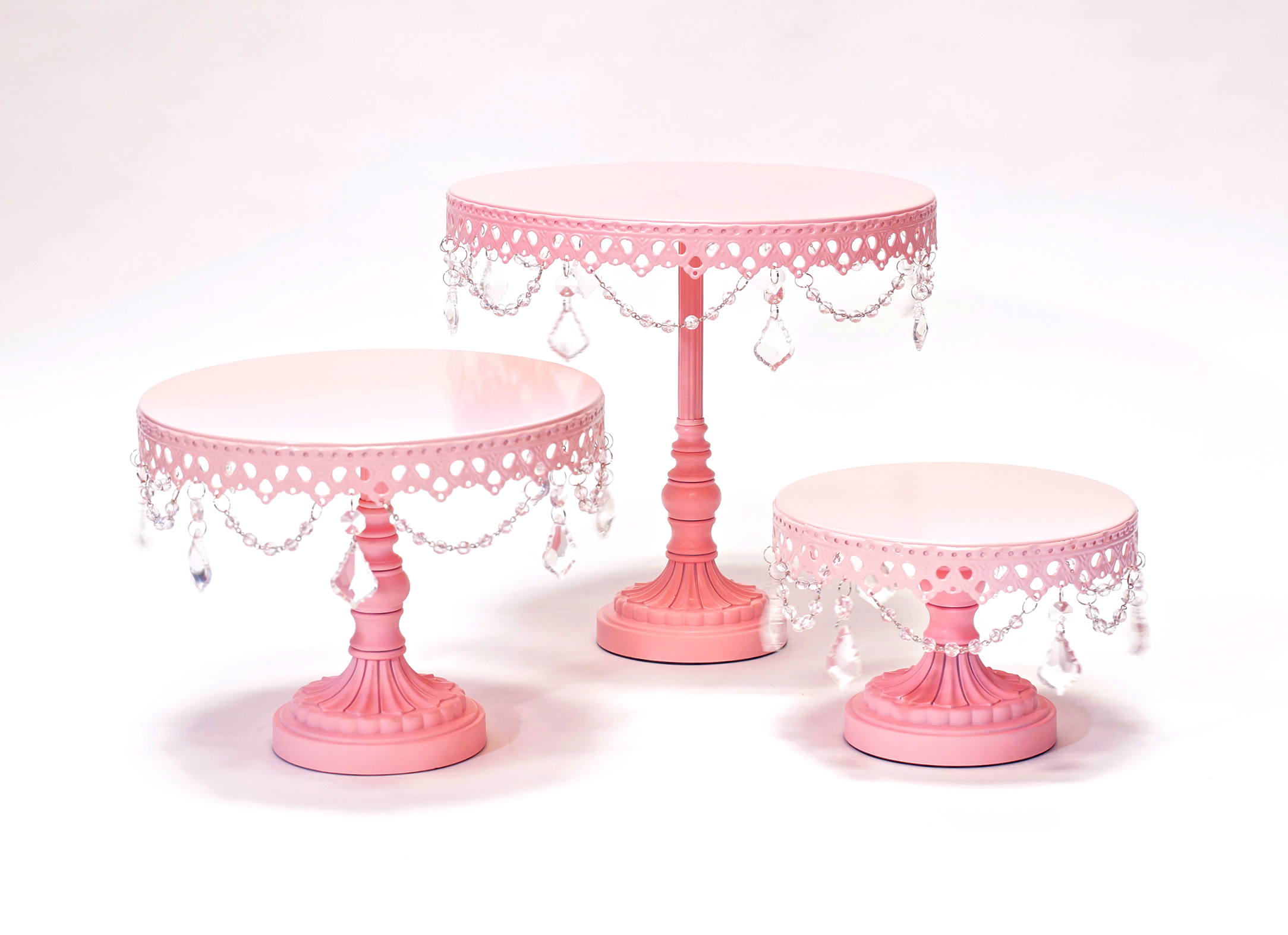 Pink Chandelier Round Cake Stand