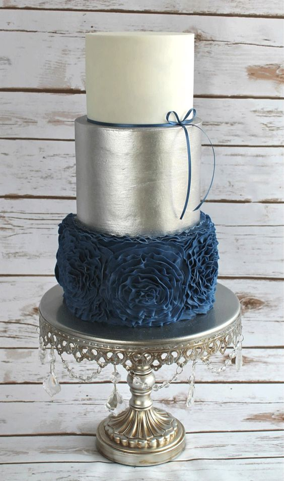Navy blue ruffle rose cake and silver metallic tiered wedding cake by  Nicole Stiglich Cake design