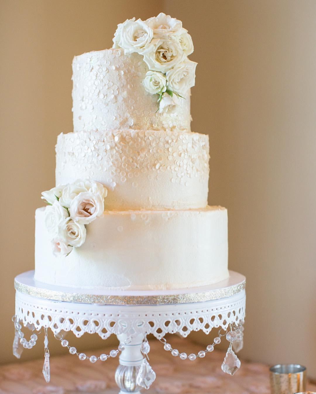 Pretty Pink sequin glitter wedding cake:  Plumeria Cake Studio