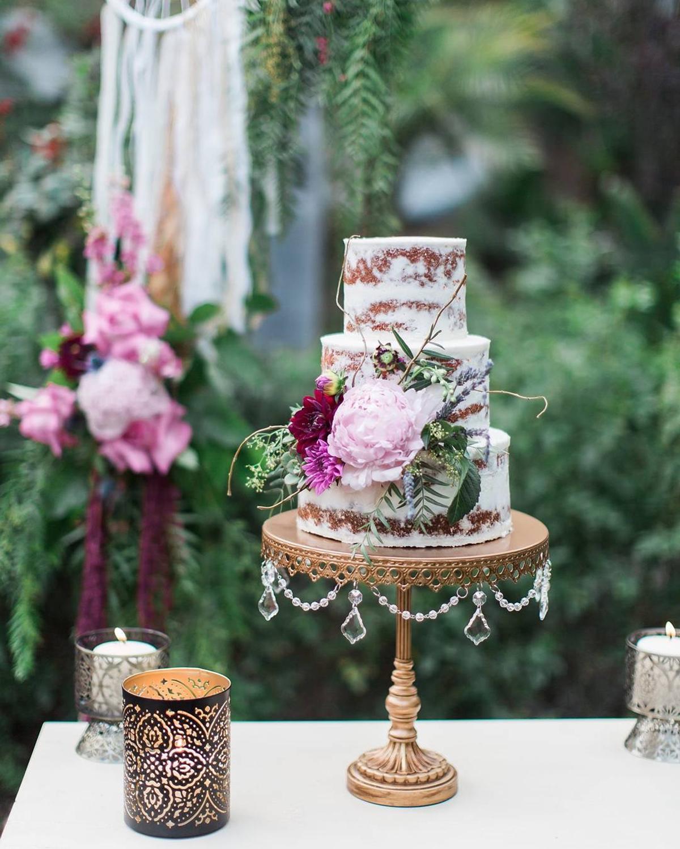 Bohemian Chic Naked Wedding Cake by  Cake Goodness  photo:  Ashley Burns Photography