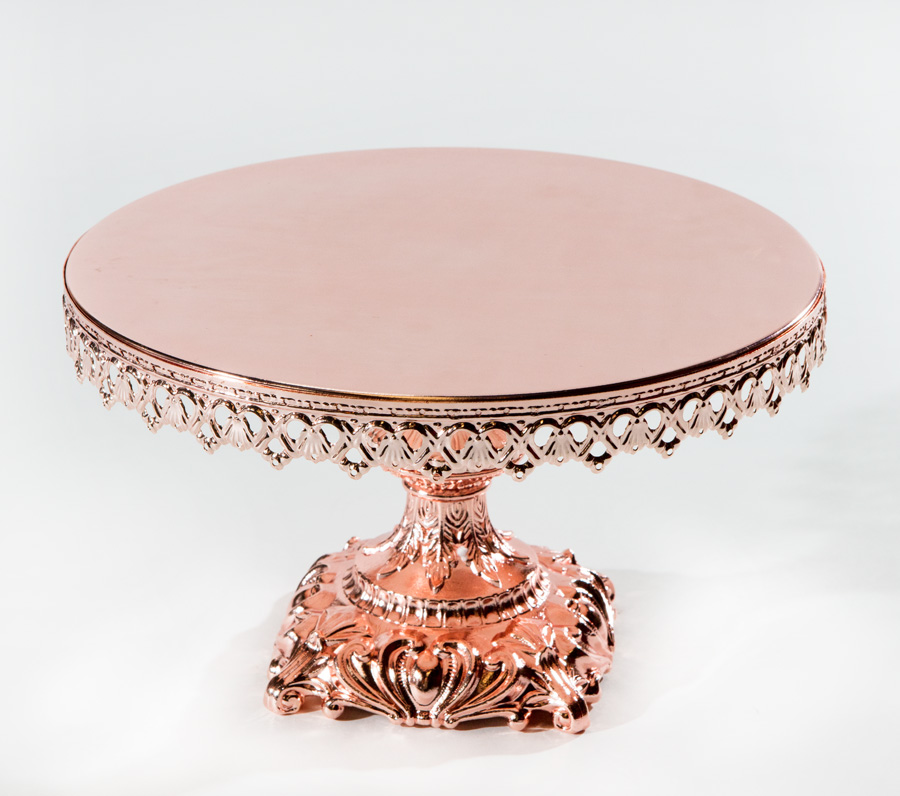 Rose Gold Cake Stand with Baroque Base
