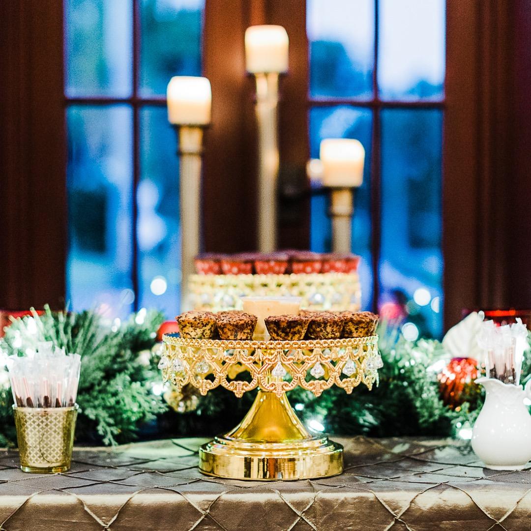 Shiny Gold Crown Cake Stand on Wedding Dessert Table  Wedding Planner: Taylor Event Design