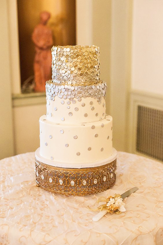 gold and Silver confetti tiered wedding cake.jpg
