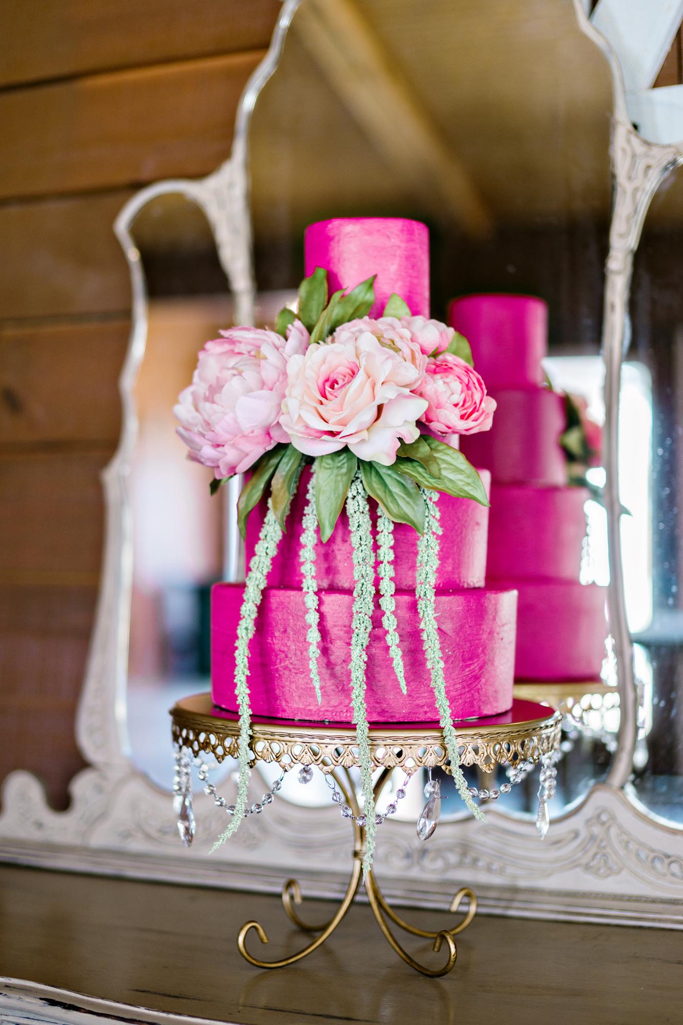 Opulent Treasures Cake Stands Andie Freeman Photo Pink Wedding Cake03.jpg