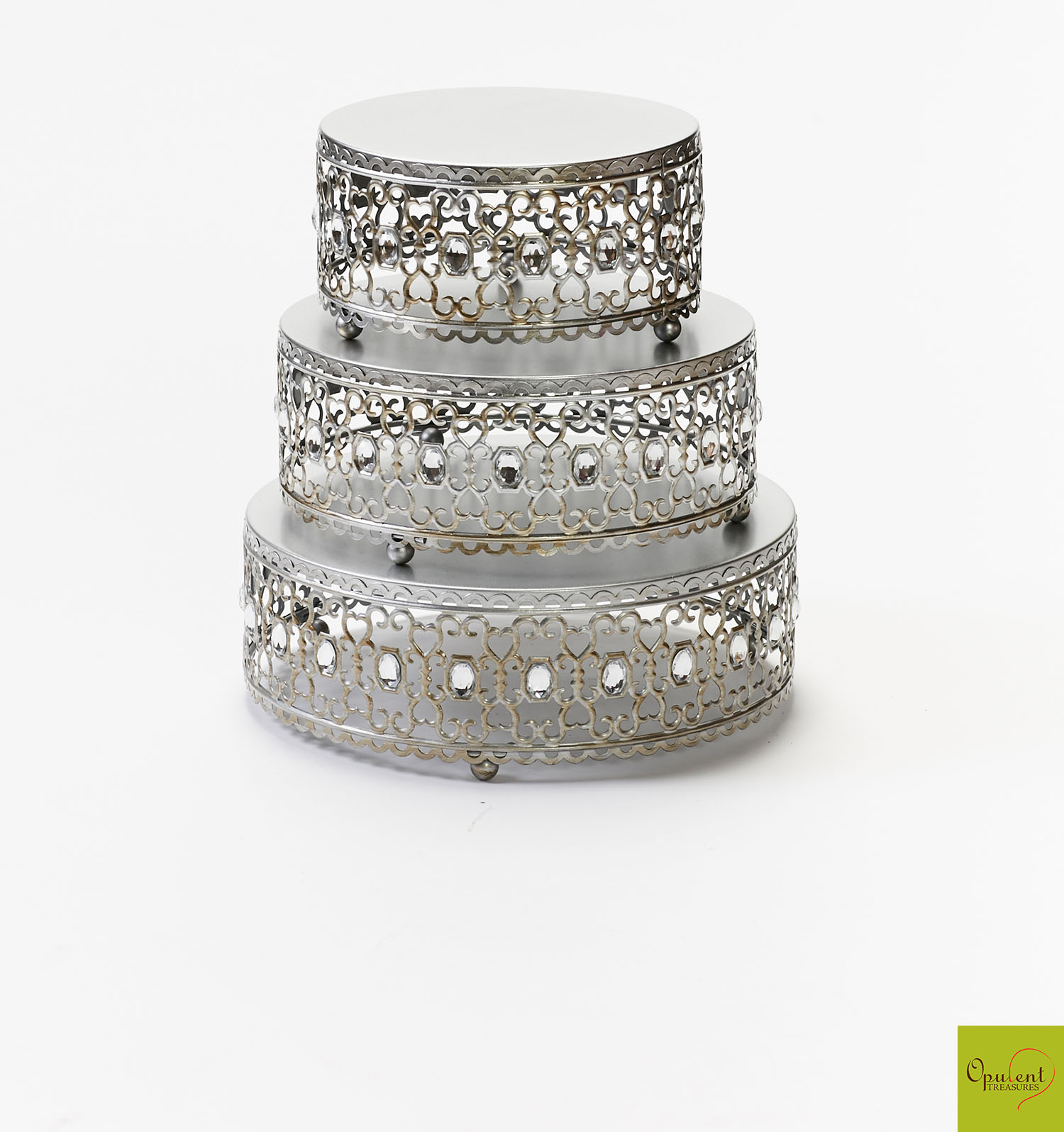 Silver Moroccan Jeweled Cake Stand