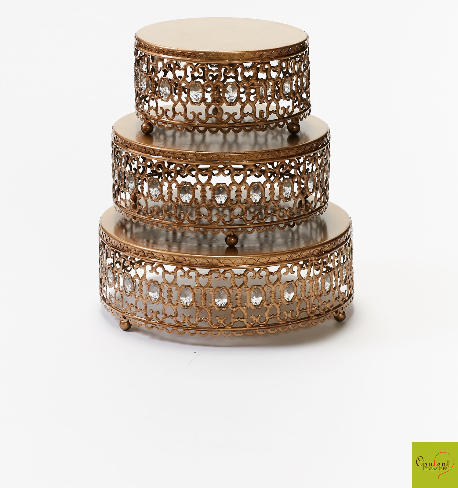 Gold Moroccan Jeweled Cake Stand