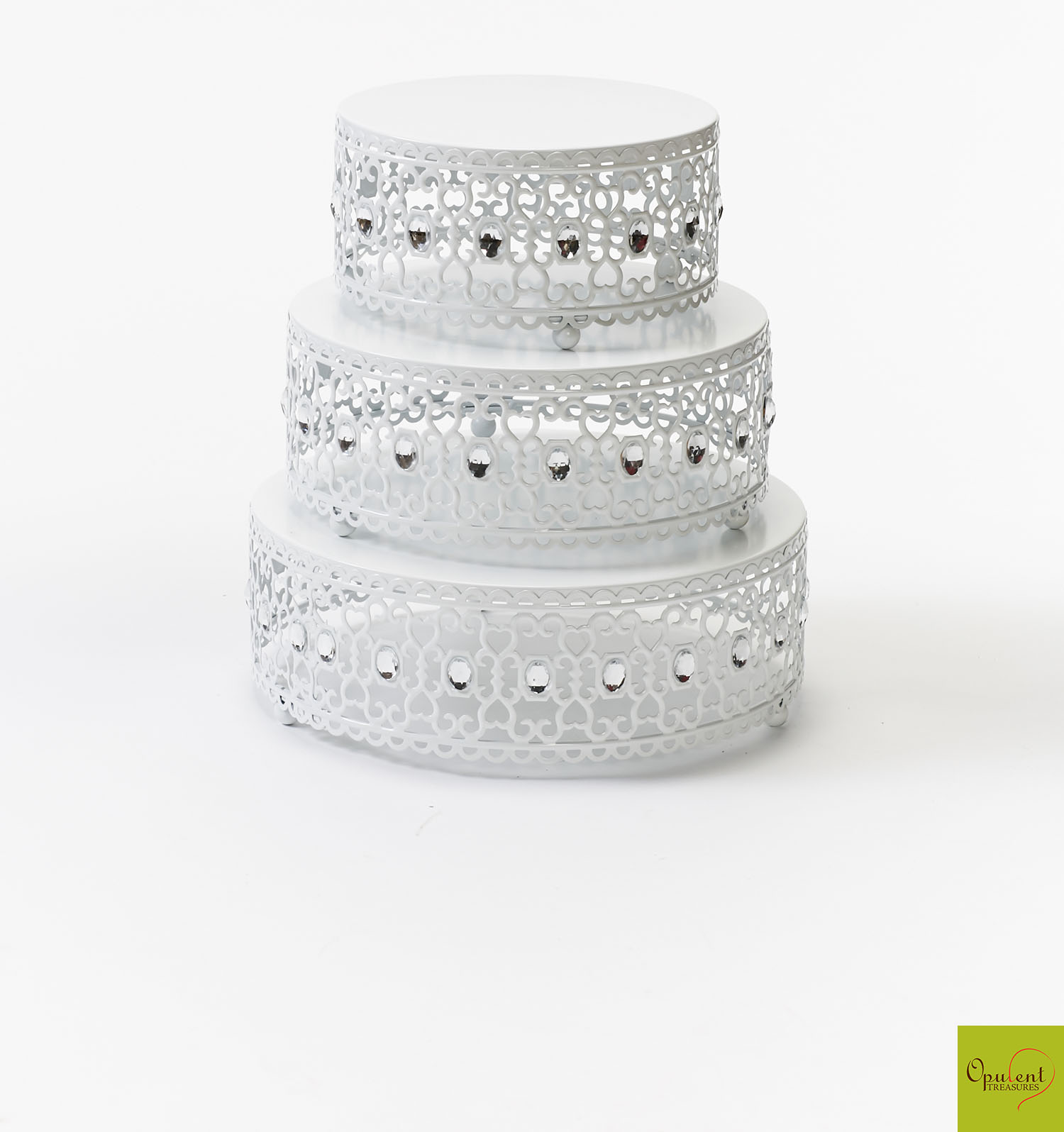 White Moroccan Jeweled Cake Stand