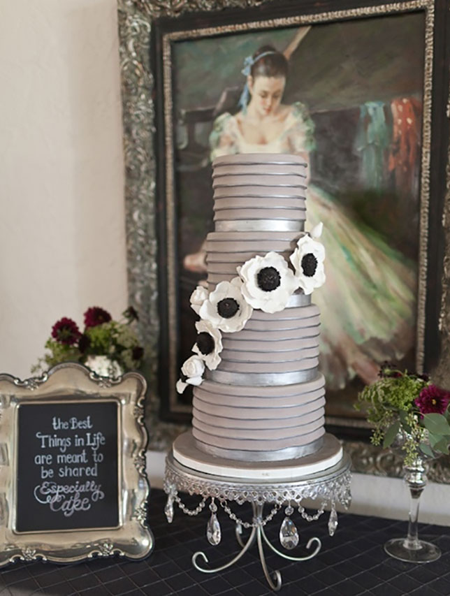 grey wedding cake silver cake stand.jpg