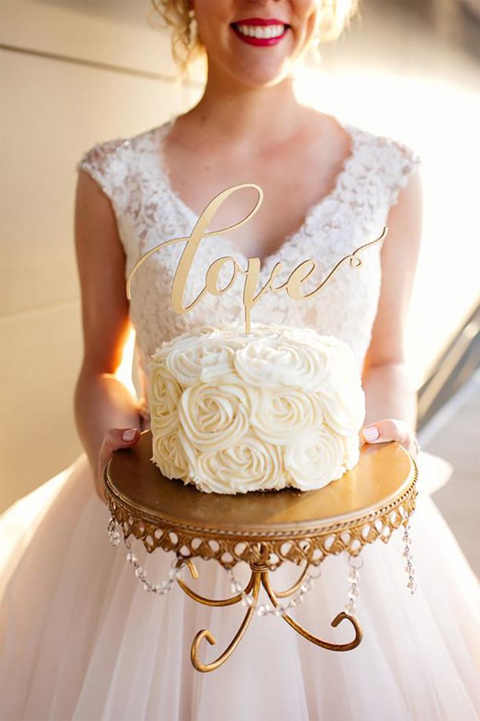 Antique Gold Loopy Cake Plate - Bride holding Wedding Cake.jpg