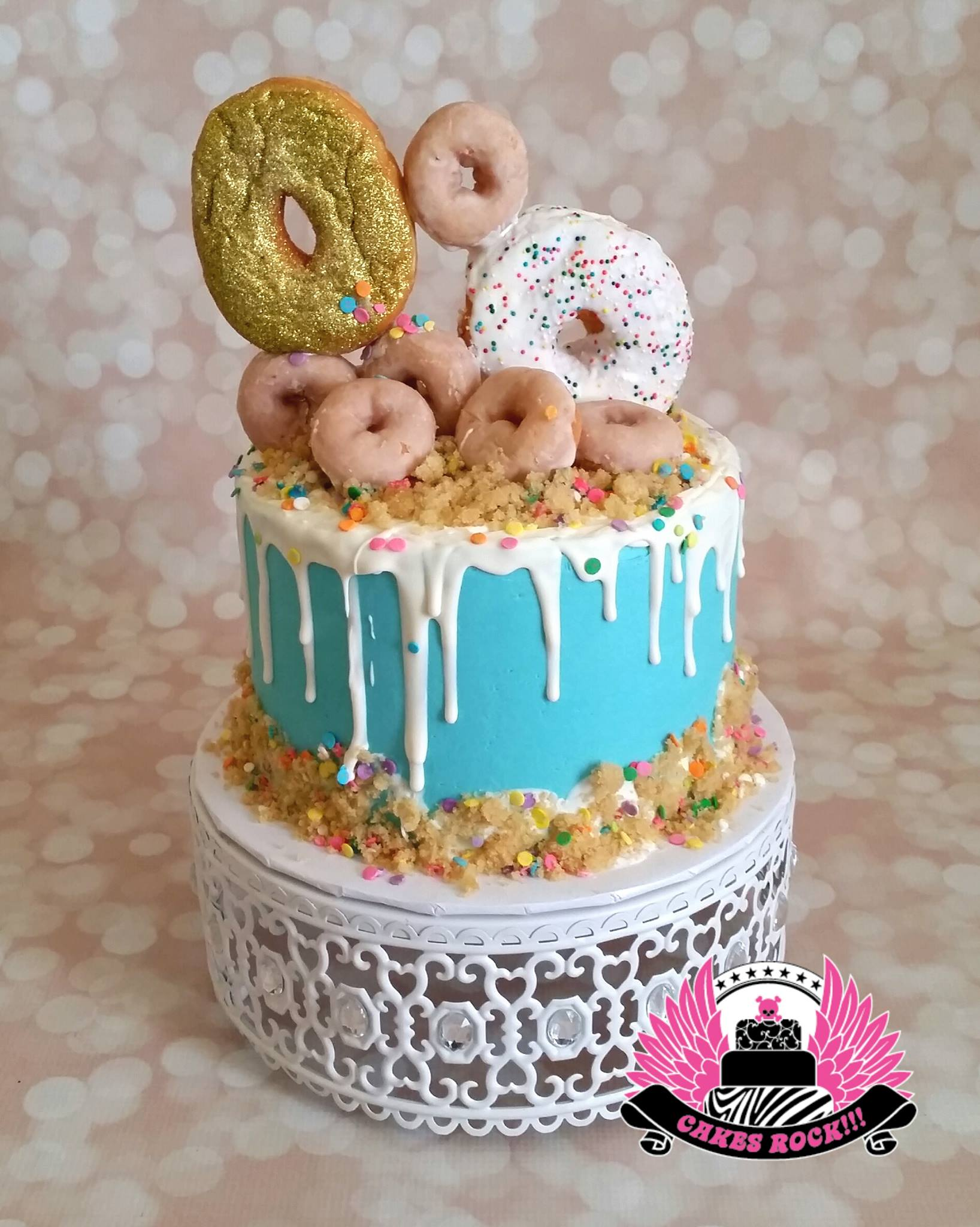donut topped drip cake white metal cake stand created by Opulent Treasures.jpg