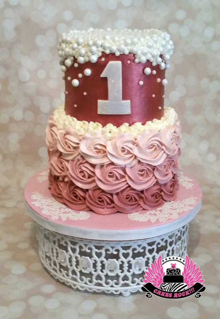First Birthday cake white jeweled moroccan cake stand.jpg