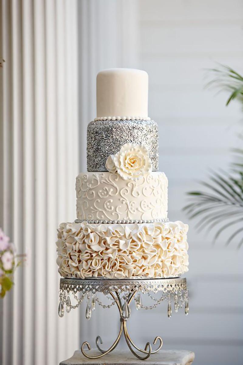 silver ivory elegant tiered wedding cake.jpg
