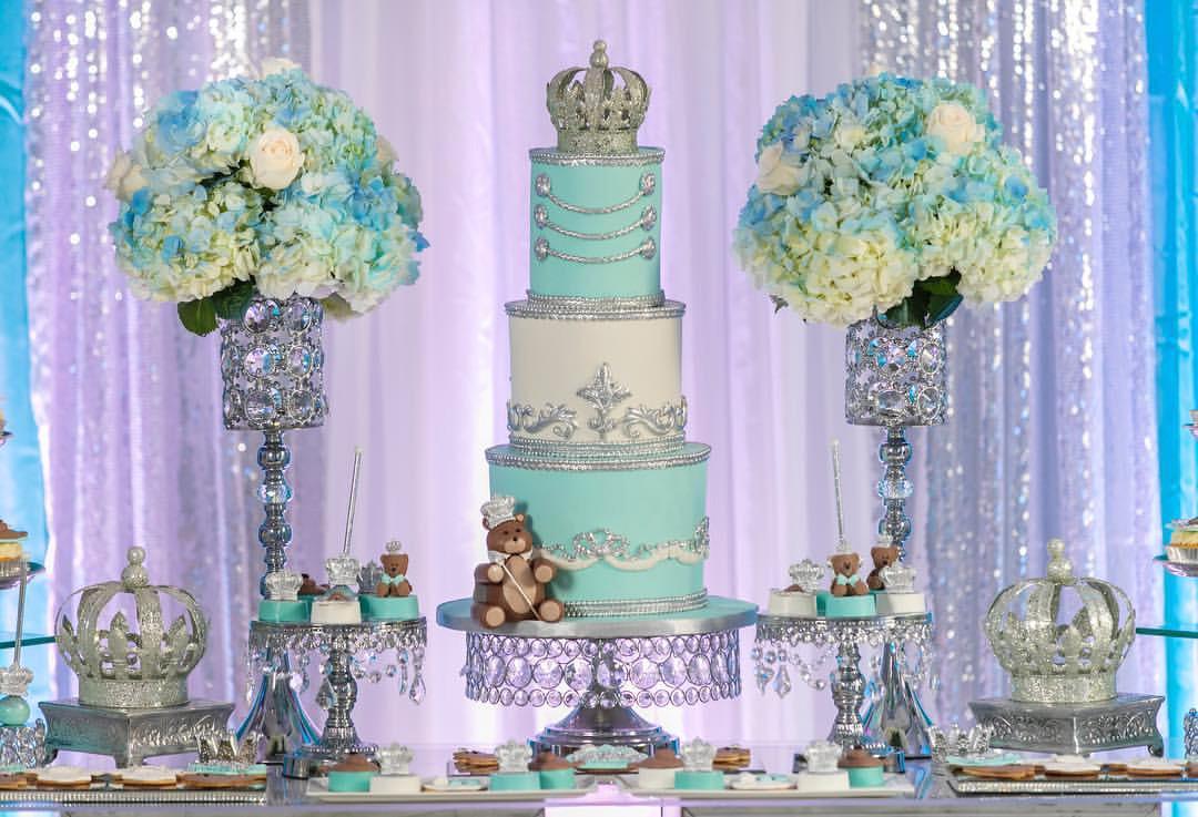 baby shower shiny silver dessert cake stands.jpg