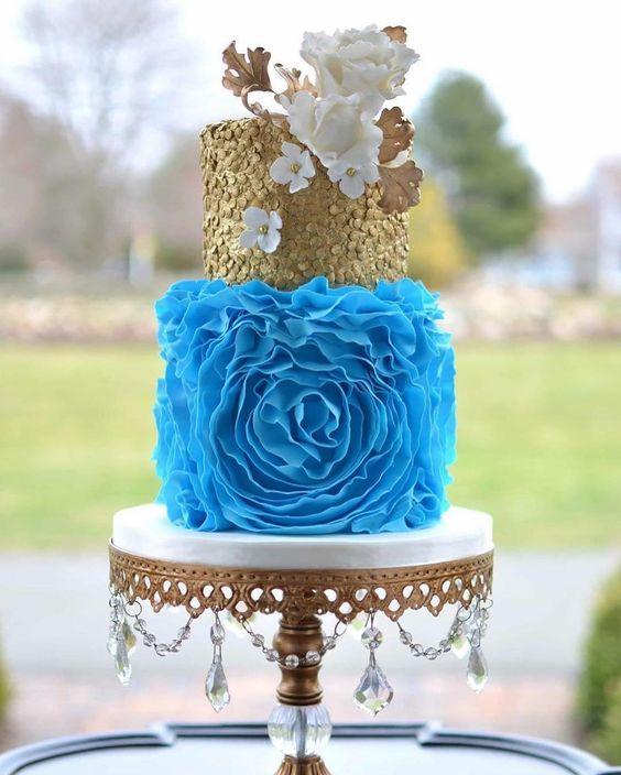 something blue wedding cakes