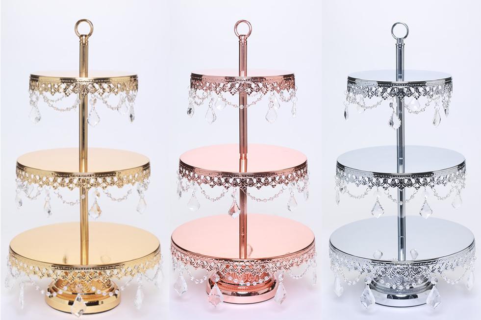 Opulent Treasures Metallic Chandelier 3 Tier Dessert Stand