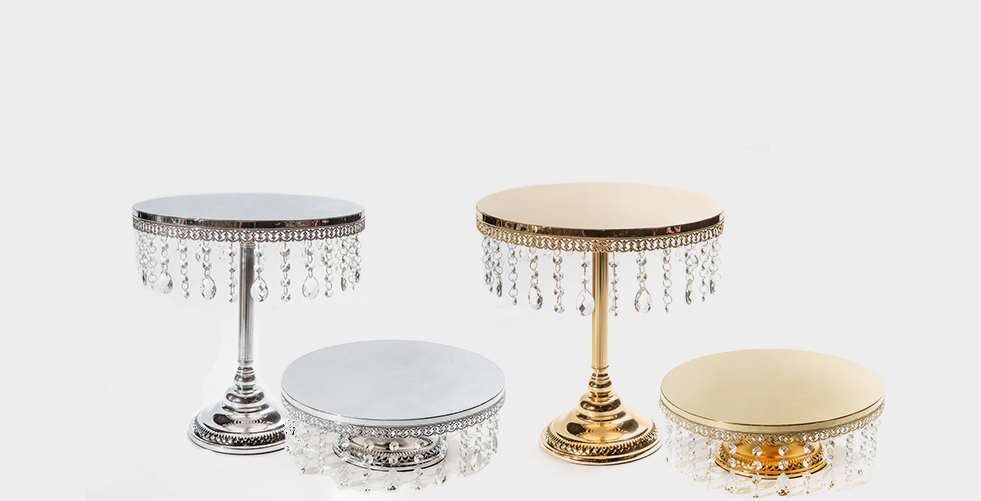 """Opulent Treasures 14"""" Shiny Cake Stand with Dangling Jewels"""
