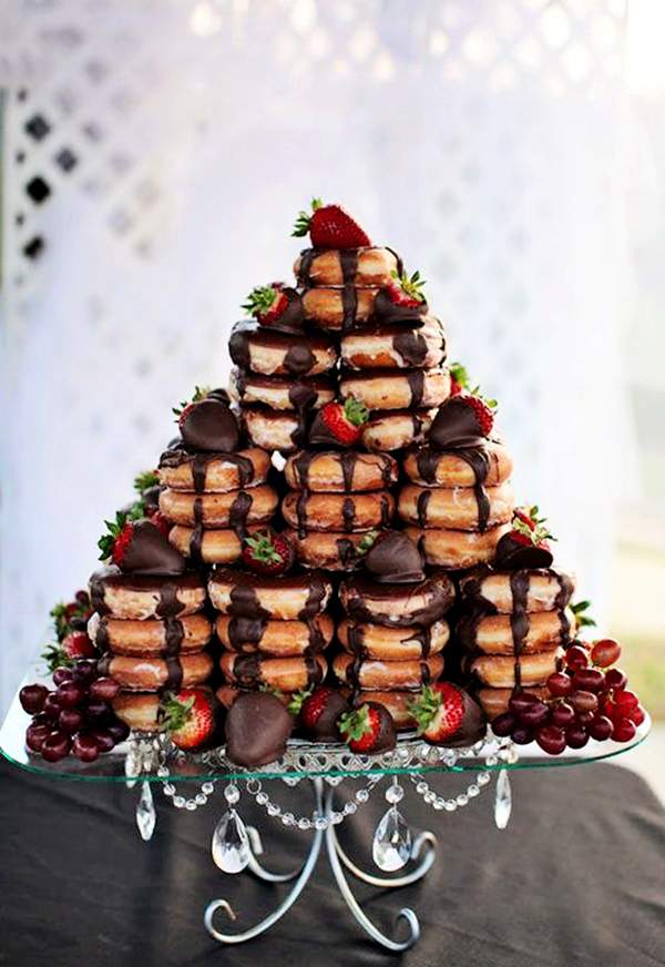 Chocolate Glazed Donut Tower on Opulent Treasures  Chandelier Loopy Cake Plate