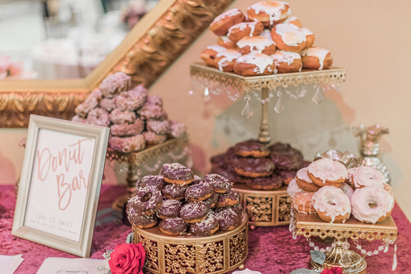 Donut Bar with Antique Gold Cake and Dessert Stands created by  Opulent Treasures