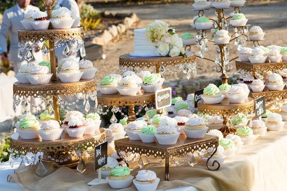 Opulent Treasures  Dessert Stands • Wedding Cupcake Table by  Frost It Cakery