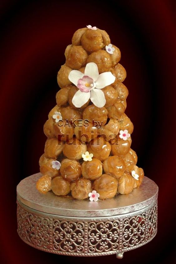 wedding croquembouche  Cakes By Rubina  • cake stand  Opulent Treasures