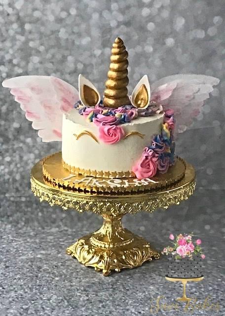 SaviBakes Unicorn Birthday Cake on Opulent Treasures Shiny Gold Baroque Cake Stand.jpg