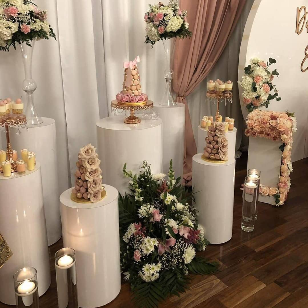 opulent treasures rose gold chandelier cake stands dessert set up chyharas_party_decorations.jpg