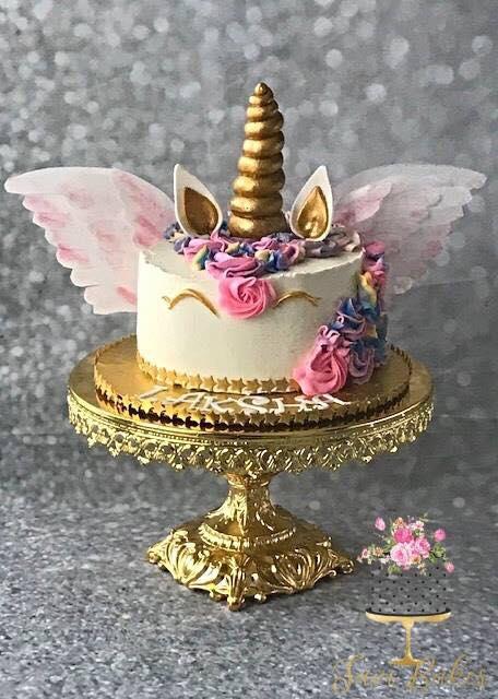 unicorn birthday cake on opulent treasures shiny gold baroque cake stand.jpg