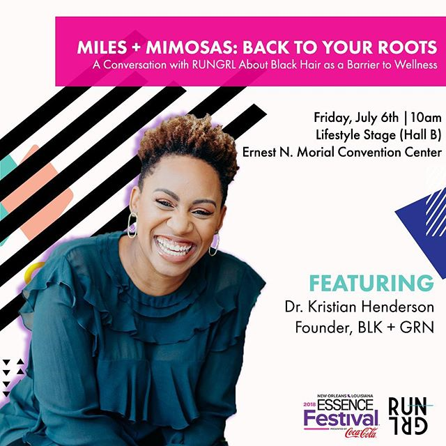 """Meet me tomorrow, July 6, at 10AM on the @essencefestival Lifestyle Stage (Hall B) as I join RUNGRL for """"Miles + Mimosas: Back to Your Roots"""". This discussion will focus on Black hair(care) as a barrier to fitness and wellness and how to run past it. We'll sip 'mock-mosas' and get into the nitty gritty of caring for Black women's hair while living an active lifestyle. **** Also catch me up close and personal at the BLK Oasis event at the ACE hotel on July 7 from 10am - 6pm. Get your tickets while supplies last, 🔗 in bio! Use the code DRKRISTIANH for $10 off. ***** #EssenceFestival #BLKGRN #RUNGRL #buyblacklivegreen"""
